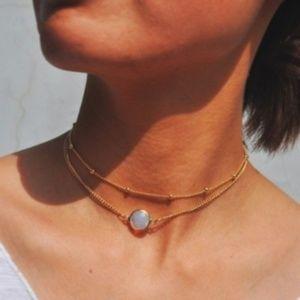 Dainty Gold Layered Choker w/ Opal Crystal Pendant